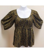 H&M 14 Top New Black Gold Paisley Swirl Peasant Puffed Sleeves Shirt - $17.98