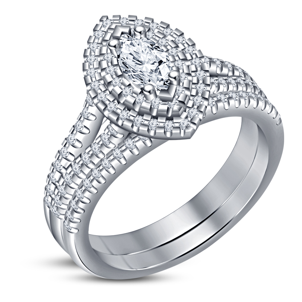 Helo Bridal Engagement Ring Set White Gold Plated 925 Silver Marquise Shape CZ