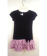 Bonnie Jean Sz 10 Black Pink Boucle Ruffle Dress - $9.89