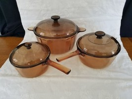 Corning Vision Ware Amber - 6 PC.  1.5 L pan, 2.5 L pan. And 5qt Dutch o... - $72.57
