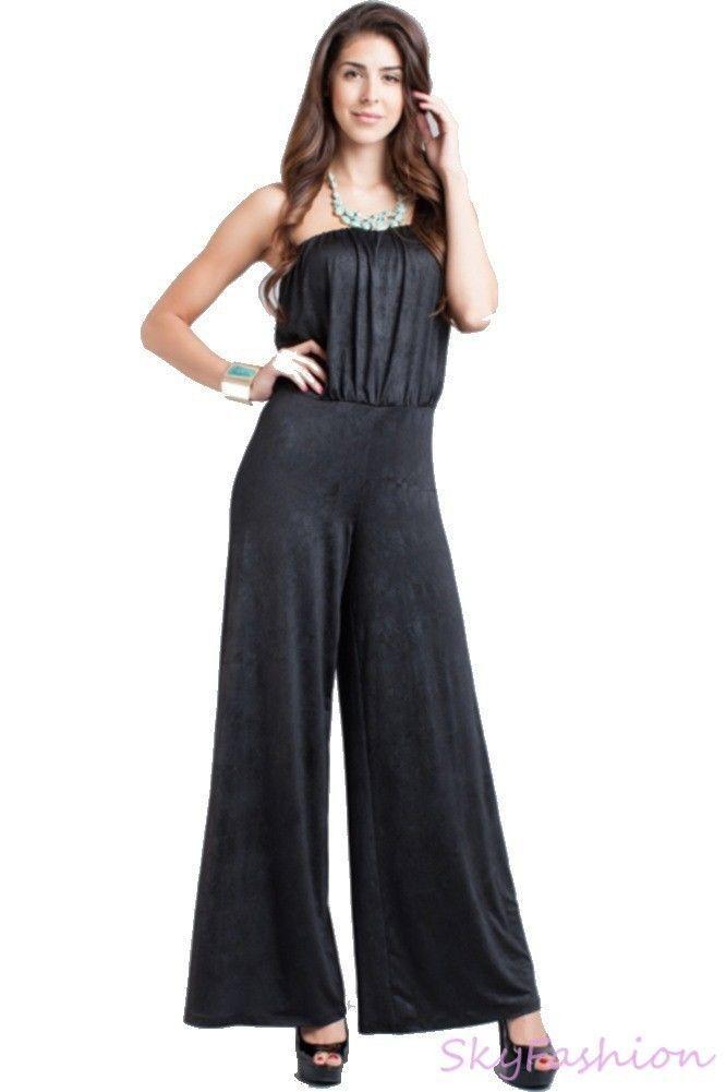 Innovative  STRAPLESS WIDE LEG PALAZZO PANTS SUIT DRESS JUMPSUIT S M L  EBay