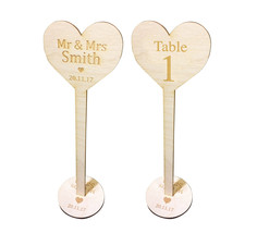 Wedding Table Number Place Name Personalised Wooden Decoration - $11.38
