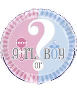 "Gender Reveal Party Supplies Girl Boy ? Baby Shower 18"" Foil Mylar Balloon - $2.84"