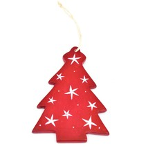 Undugu Society Hand Carved Soapstone Red Christmas Tree Holiday Ornament