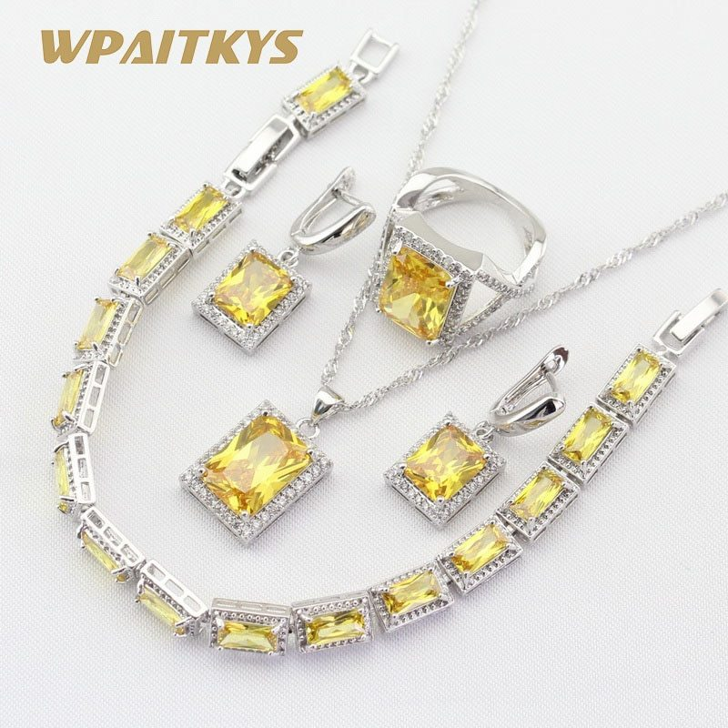 Silver 925 Jewelry Sets For Women Square Yellow Cubic Zirconia Necklace Pendant  image 3
