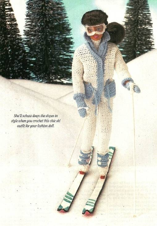 Y279 Crochet PATTERN ONLY Fashion Doll Barbie Winter Ski Outfit + Skis & Poles