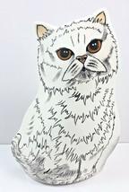 Persian White Fluffy Cat Vase Gold Hazel Eyes Decorative Vase by Nina Ly... - $23.22