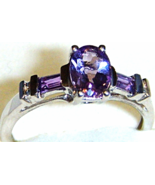 AFRICAN PURPLE AMETHYST OVAL & BAGUETTE RING, 925 SILVER, SIZE 7, 0.90(TCW)