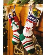 Y319 Crochet PATTERN ONLY 2 Christmas Stocking Patterns Snowflake and Noel - $7.50