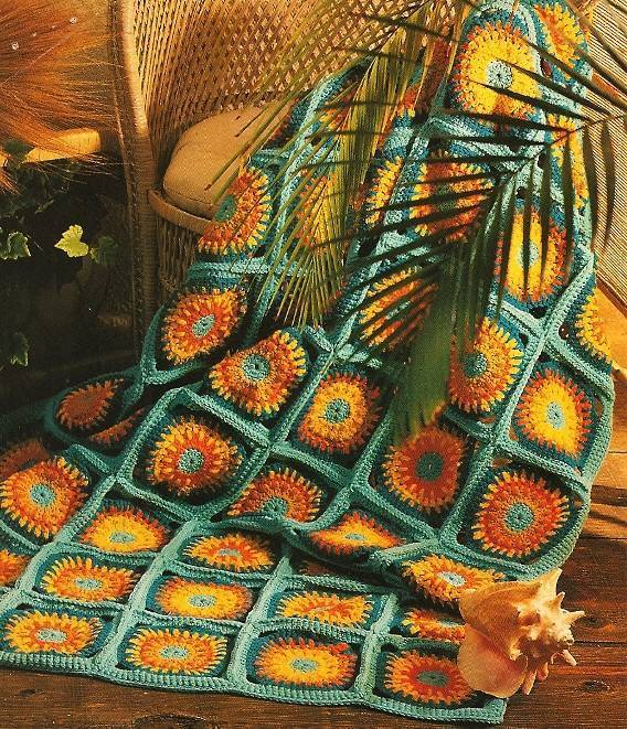 Y332 Crochet PATTERN ONLY Tropical Sunbright Delight Afghan Pattern