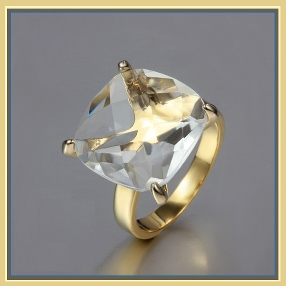 Primary image for CZ Diamond Luxury Crystal Bague Solitaire Love Promise 18k Gold Plated Ring