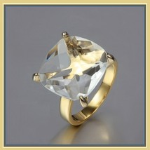 CZ Diamond Luxury Crystal Bague Solitaire Love Promise 18k Gold Plated Ring image 1