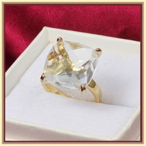 CZ Diamond Luxury Crystal Bague Solitaire Love Promise 18k Gold Plated Ring image 2