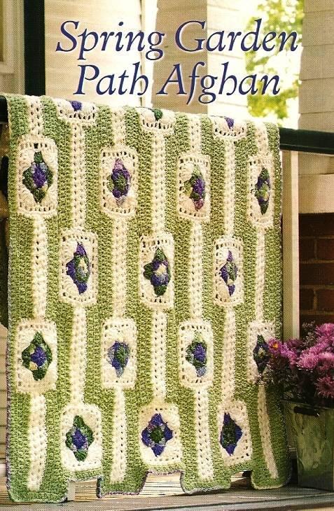 Y337 Crochet PATTERN ONLY Spring Garden Path Afghan Pattern