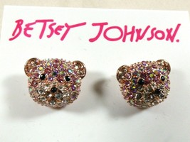 Betsey Johnson Pink Pave Crystal  Bear Face Stud Earrings NWT - $44.55