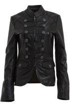 WOMENS MILITARY STYLE LEATHER BLAZER /JACKET, WOMENS OUTERWEAR, LEATHER ... - $159.99