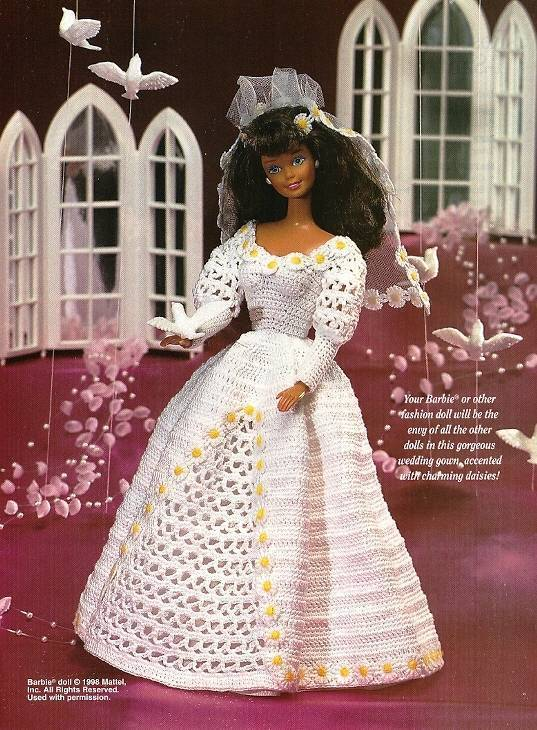 Y339 Crochet PATTERN ONLY Daisy Trimmed Fashion Doll Wedding Gown Pattern