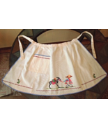 Vintage Hand Made Cotton Apron w/Cross Stitch - Man and Donkey #6219 - $10.99