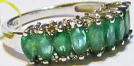 AFRICAN GREEN EMERALD MARQUISE & DIAMOND BAND RING, SILVER, SIZE 8, 1.18(TCW) - $98.99