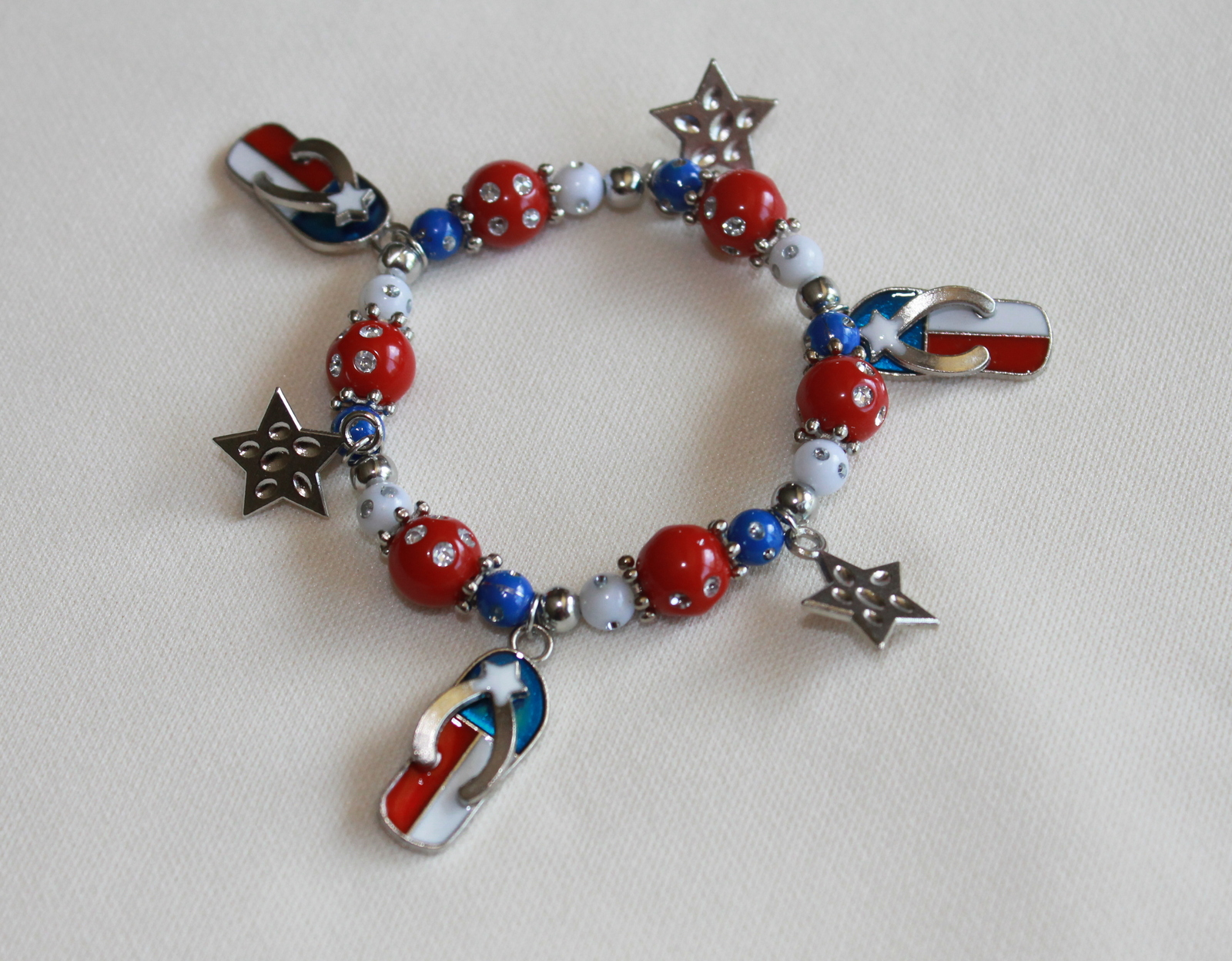 Patriotic Flip Flop Stretchy Bracelet for Kids