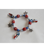 Patriotic Flip Flop Stretchy Bracelet for Kids - $7.00