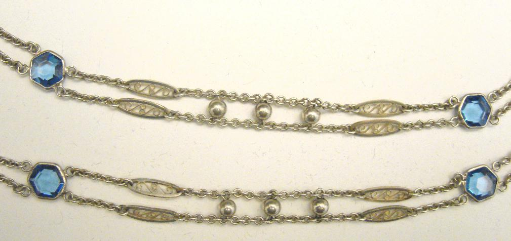 STERLING MUFF/WATCH CHAIN - BLUE STONES