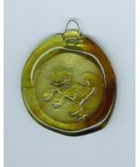 Glass SuncatcherSun Catcher Greenish Amber  with Cat Kitten Handmade - $4.00