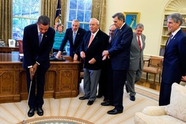 Arnold Palmer In The Oval Office President Barack Obama Photograph Golf 18x12 - $39.59