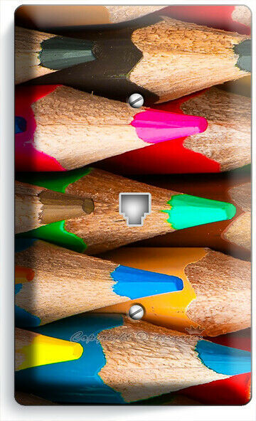 BRIGHT COLOR SHARP PENCILS PHONE TELEPHONE COVER PLATE ART HOBBY STODIO HD DECOR