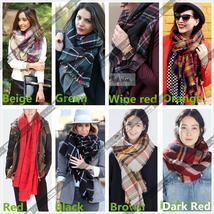 Lady Women Hot Wool Blend Blanket Oversized Tartan Scarf Wrap Shawl Plaid Checke