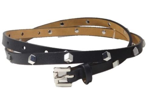 Primary image for Michael Kors Skinny Leather Belt Silver Studs, Large 44, Black