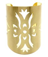 Abstract Cuff Bracelet Cut Out Design Shapes Statement Bangle Gold Jewel... - $16.99