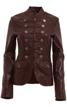 WOMENS BROWN MILITARY STYLE LEATHER BLAZER JACKET, WOMENS BROWN COLOR BL... - $159.99