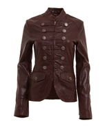 Womens brown military style leather blazer jacket 2 thumbtall