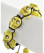 Day of the Dead Skull Shamballa Bracelet Yellow Black Dia de Los Muertos... - $15.00