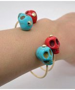 Day of the Dead Skull Bracelet Turquoise Blue Gold Dia de Los Muertos Ho... - $12.99