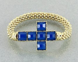 Cross Bracelet Sapphire Blue Color Gold Stretch Cuff Faceted Beads  - $15.99