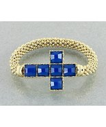 Cross Bracelet Sapphire Blue Color Gold Stretch... - $15.99