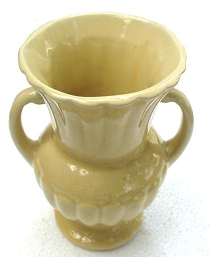 Old Pale Yellow Hi Gloss Art Pottery Vase w/ Handles U.S.A