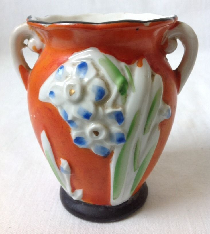 Vintage Oriental Vase Orange W Blue Flowers And 11 Similar Items