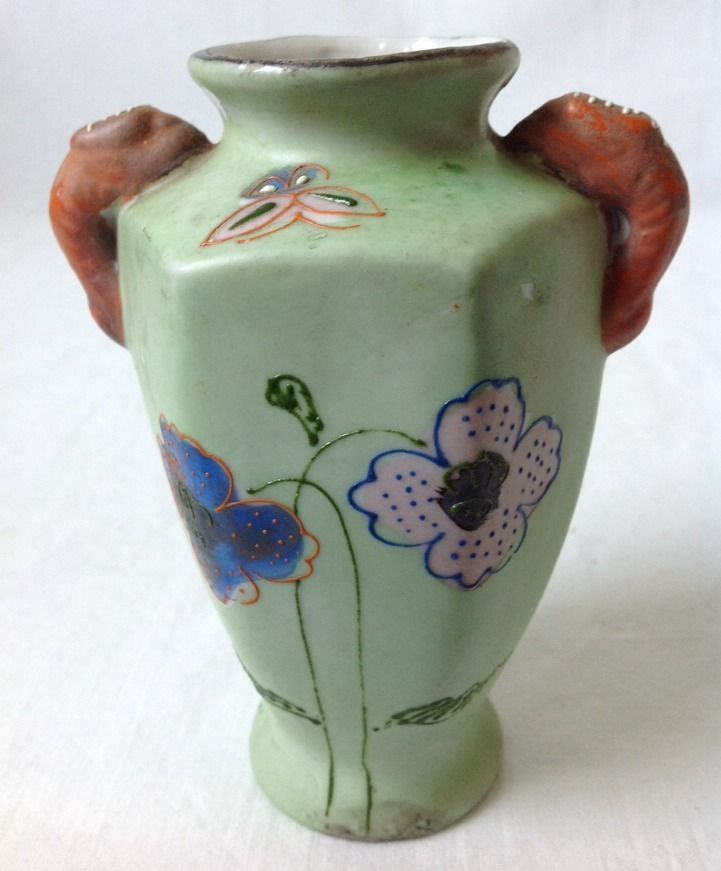 "Primary image for Vintage Handpainted Oriental Vase Green w Flowers Made in Japan 4 7/8"" Tall"