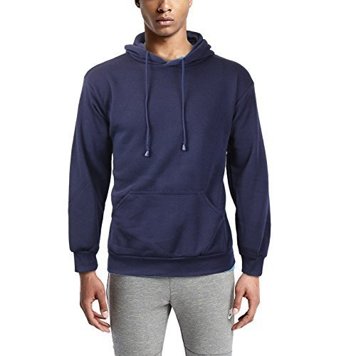 Men's Athletic Drawstring Fleece Lined Sport Gym Sweater Pullover Hoodie (Small,