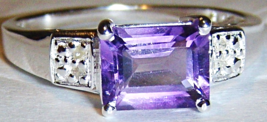 PURPLE AMETHYST OCTAGON & DIAMOND RING, 925 SILVER, SIZE 9, 1.61(TCW), 2.20GR - $25.00