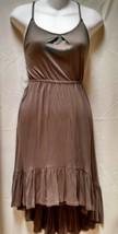 OLD NAVY brown spaghetti strap sexy sundress dress sz xs nwot high low hem - €13,07 EUR