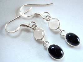 Black Onyx & Rose Quartz Two Stone 925 Sterling Silver Dangle Earrings - $13.85