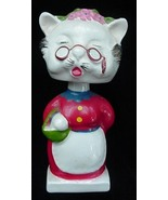 Old Grandma Kitty Cat Pottery Nodder Bobblehead Japan - $17.50