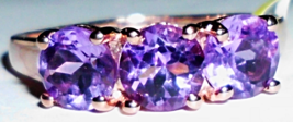 PURPLE AMETHYST ROUND 3-STONE RING, 14K ROSE GOLD / SILVER, SIZE 9, 2.25(TCW) - $25.00