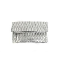 Positive Elements Hand Woven Fold Over Leather Clutch in Silver - $230.00