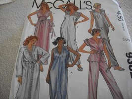 Misses' Robe, Tie Belt, Nightgown or Pajama Pattern McCall's 9382 - $8.00