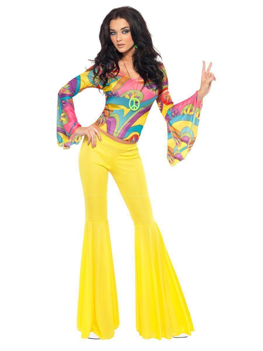 Smiffys Fever Años 70 Fabuloso Nena Hippy Adulto Mujer Disfraz Halloween 30445
